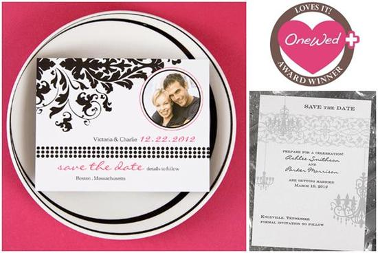 Chic black, white, and hot pink wedding save-the-dates!