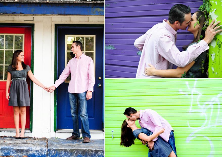 Talahassee-florida-colorful-engagement-session-blue-and-red-doors-groom-dips-kisses-bride-green-purple-background.full