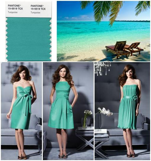 PANTONE Turquoise- 2010 Color of the Year; and Dessy bridesmaids dresses in this serene hue!