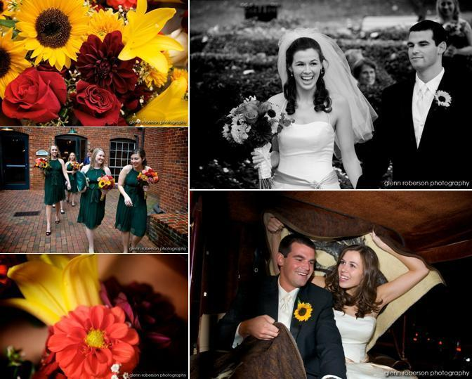 Grp-yellow-daisies-red-roses-maroon-flowers-dark-green-bridesmaids-dresses-horse-drawn-carriage.full