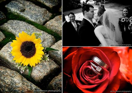 Bright yellow daisy sits on stone walkway; platinum and diamond engagement ring and wedding bands si