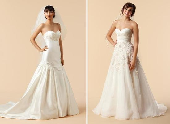 Strapless wedding dresses with tulle, ruching, and unique drop ...