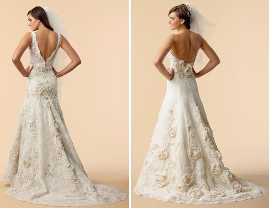Stunning lace and dutchess satin ivory wedding dresses with beautiful floral appliques