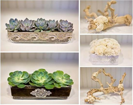 Vintage-inspired sustainable wedding decor and holiday decor- grey and green succulents, ivory balsa