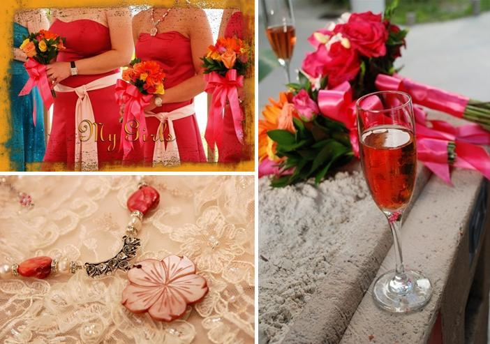 Bridesmaids in hot pink strapless dresses, hold orange, yellow and pink floral bouquets; champagne f