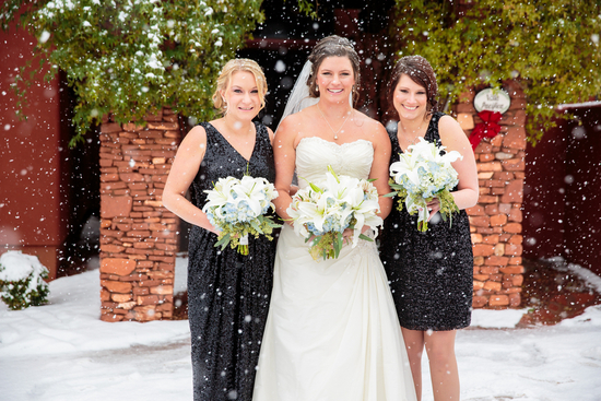 Bridesmaids in Snow