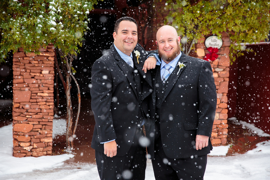 Groomsmen in Snow