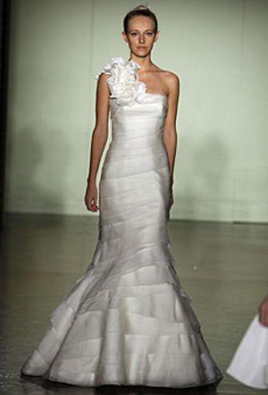 One Shoulder Mermaid Style Melissa Sweet Wedding Dress With Tiered Bodice O