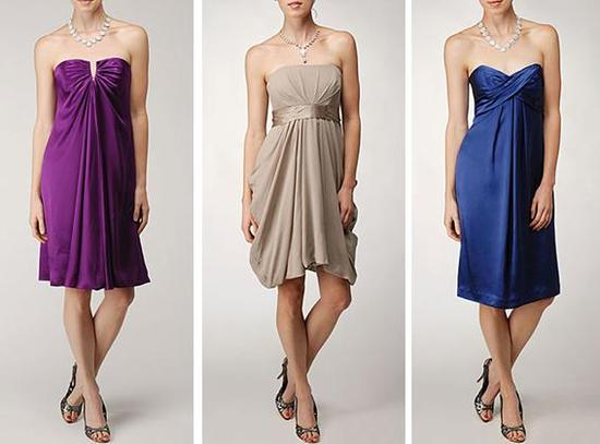 Short and sassy bridesmaids' dresses from Nicole Miller- now available online!