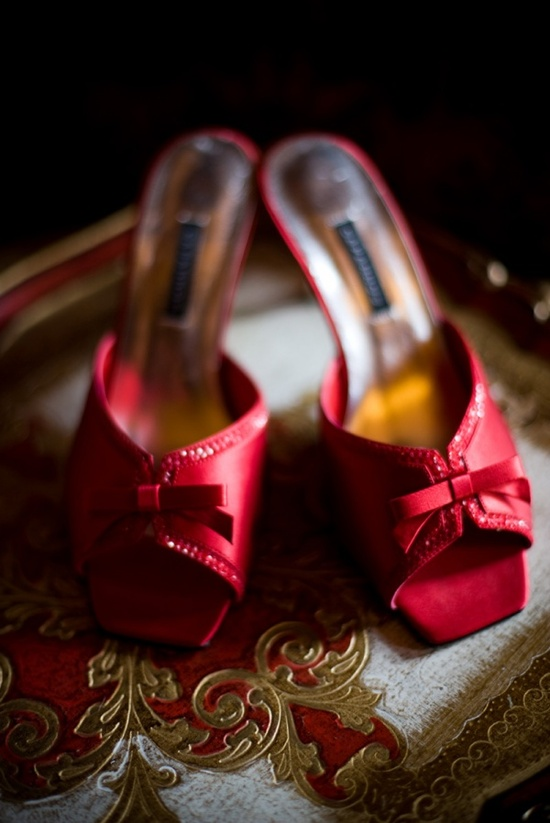 Slip on ruby red bridal heels with open toe and tiny bow