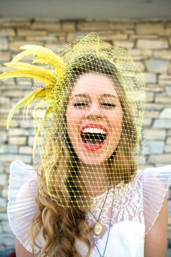 Yellow Bird Cage Veil