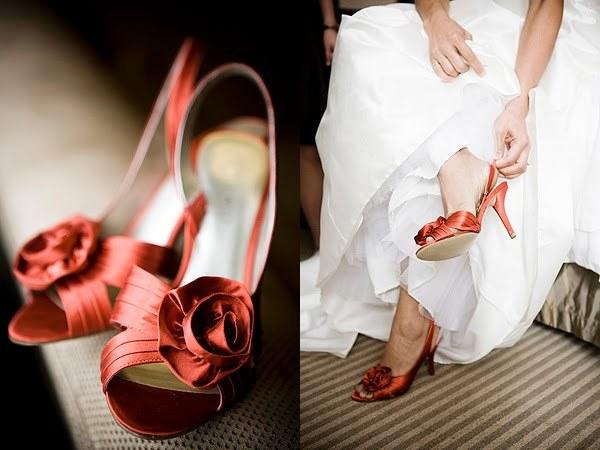 Bridal-shoes-red-orange-peep-toes-rosette-white-wedding-dress.full