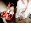 Bridal-shoes-red-orange-peep-toes-rosette-white-wedding-dress.square