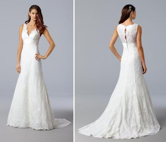 V-neck white lace wedding dress with beautiful timeless lace back