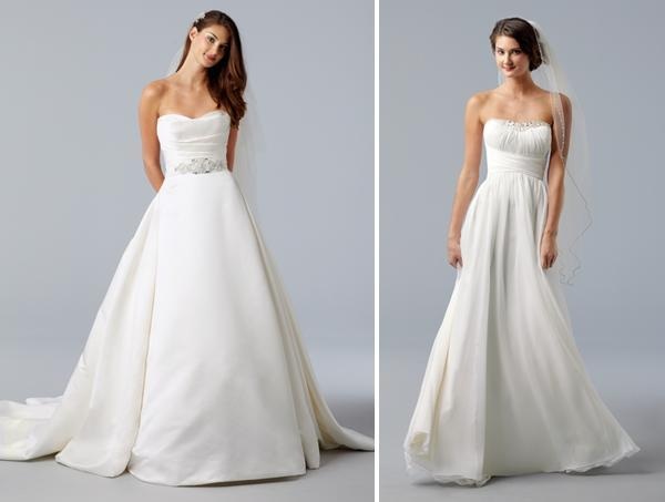 Strapless ivory wedding dresses- princess a-line with beaded sash and crystal embellishments