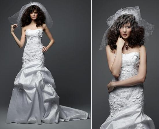 Radiant taffeta and lace strapless wedding dress, adorned with small floral appliques