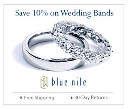 These platinum and diamond wedding bands are from Blue Nile