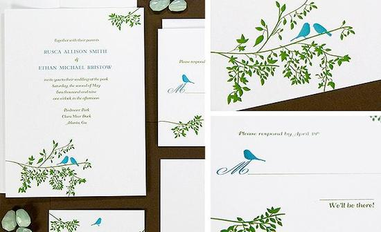 Eco-friendly wedding invitations and stationery- white with blue and green, nature-inspired with bir