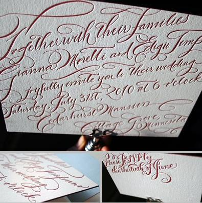 Stunning and elegant eco-friendly letterpress wedding stationery- white with dark red cursive