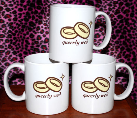 These mugs with two interlocking wedding rings are available at queerly wed.