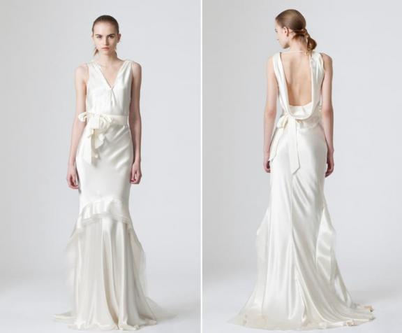 The bride in this beautiful vera wang wedding dress with a for Satin cowl neck wedding dress