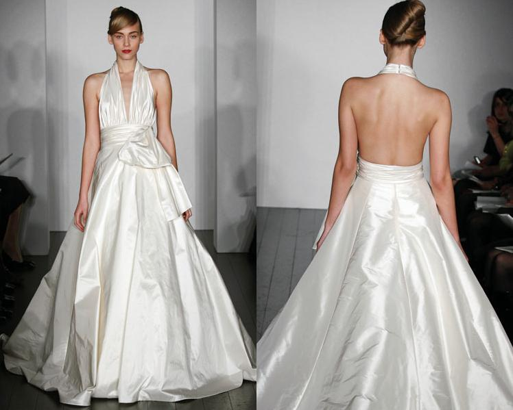 White silk taffeta deep halter wedding dress with low back and full ...