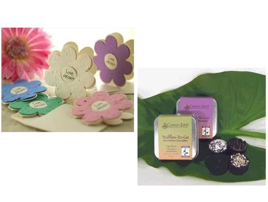 Eco-friendly wedding favors- plantable wildflower favors and fair trade chocolate truffles