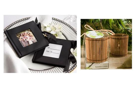 Chic black and white mini photo albums; eco-friendly bamboo wedding favor candles