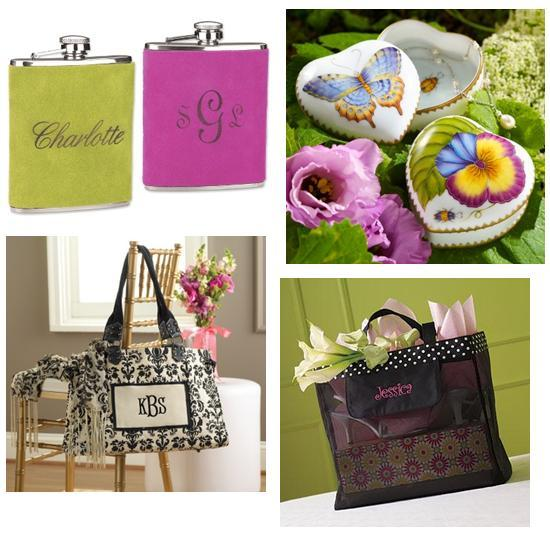 Personalized suede flasks and tote bags for your bridesmaids; beautiful butterfly jewelry boxes