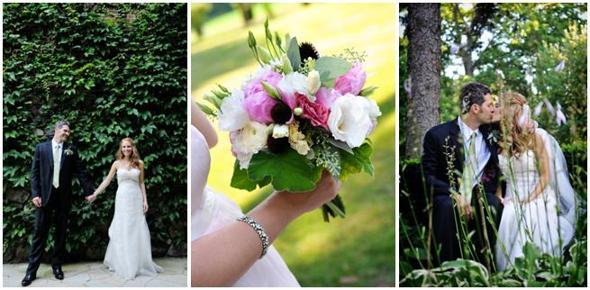 Michigan-outdoor-garden-wedding-green-ivy-backdrop-bride-groom-hold-hands-kiss-fun-bridal-bouquet-with-white-pink-black-flowers.full