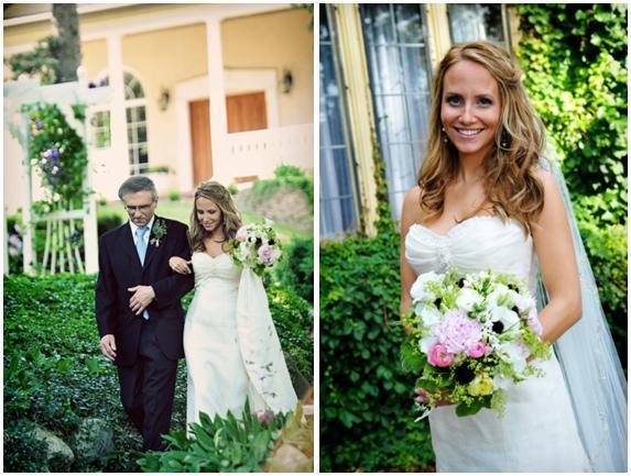 Michigan-outdoor-garden-wedding-bride-white-strapless-wedding-dress-bouncy-loose-bridal-hair-walks-down-aisle-with-dad-white-green-pink-black-bridal-bouquet.full