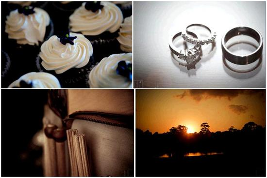 Yummy black and ivory wedding cupcakes; diamond and platinum engagement ring and wedding bands