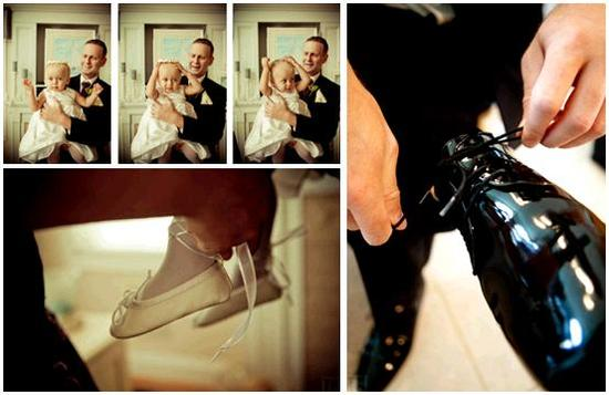 Groom ties his black patent leather wedding shoe; flower girl with tiny ivory ballet flats gets some