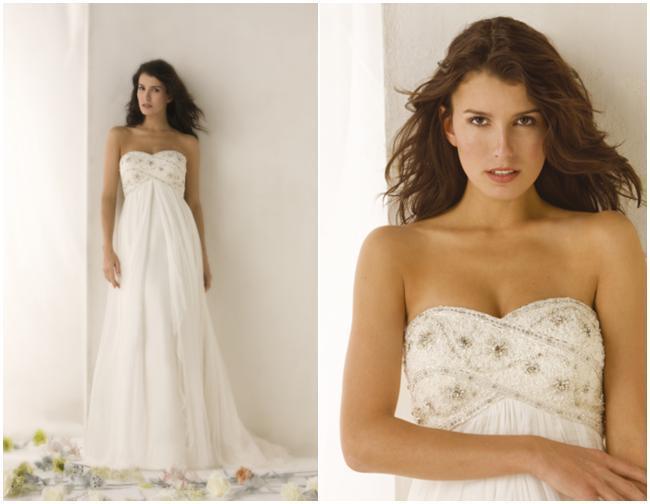 Strpless white wedding dress with strapless beaded top, perfect for a destination or beach wedding