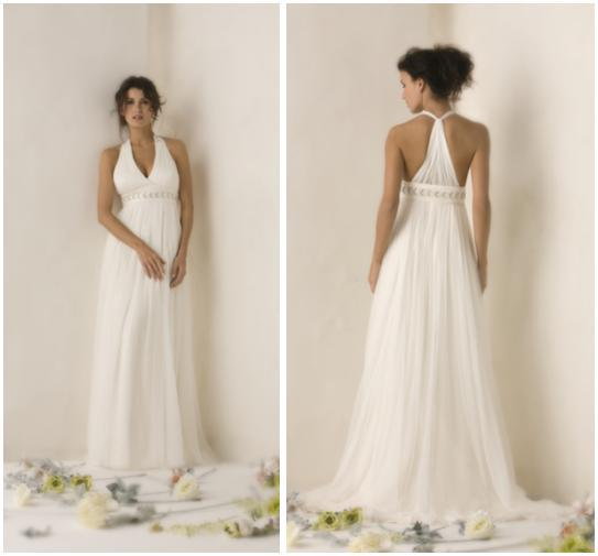 White grecian-inspired wedding dress with halter top and t-back