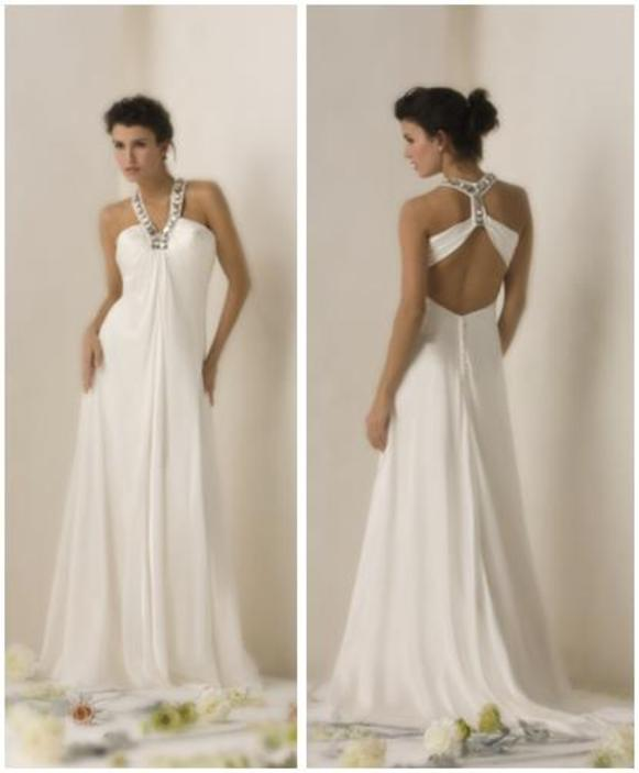 White Grecian Inspired Wedding Dress With Halter Top And T Back