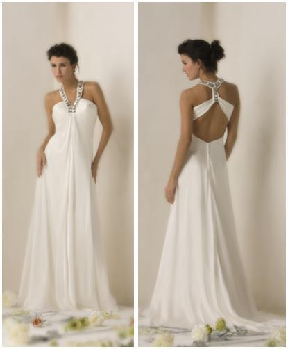 Beautiful white sheath style wedding dress with detailed silver rhinestone halter and open back
