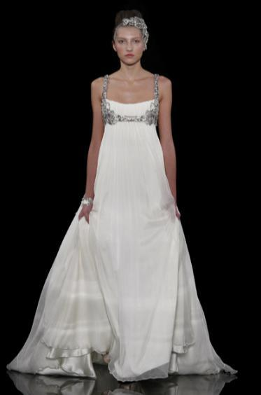 Simple and beautiful a-line wedding dress with rhinestone jeweled straps