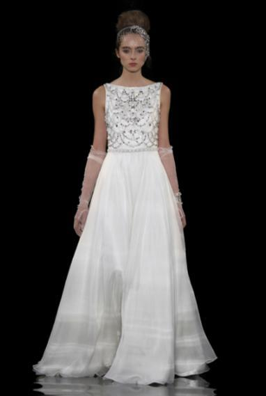 Boat neck sleeveless a-line wedding dress with silver beaded bodice