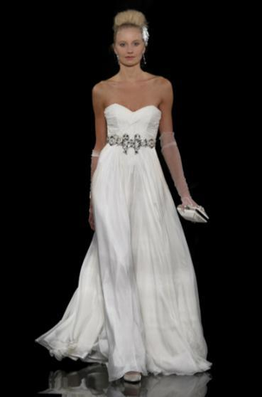 White sweetheart neckline a-line wedding dress with fabulous rhinestone jeweled belt