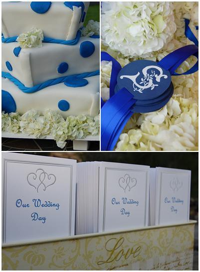 White wedding cake with blue polka dots and ivory flowers; white wedding programs with gold and blue