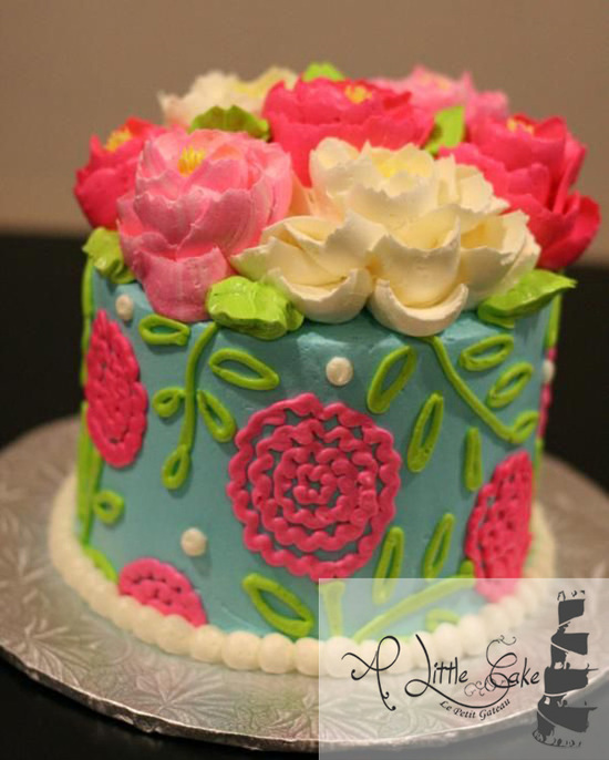 Buttercream Cake, Love bright colors and texture, Imagine with red carnations