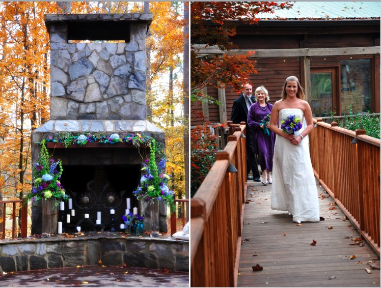 This fireplace festooned with purple and blue flowers and surrounded by fall trees provides a perfec