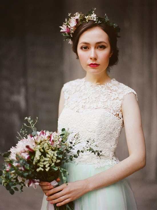Floral Crown with Lace Top