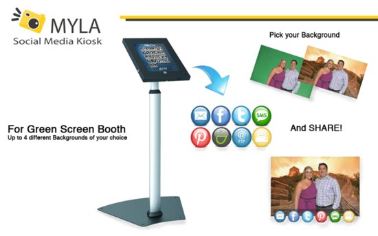 MYLA PhotoBooth Social Media Kiosk for Green Screen