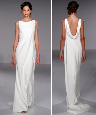 Sheath style white wedding dress with high boat neck and for Cowl back wedding dress