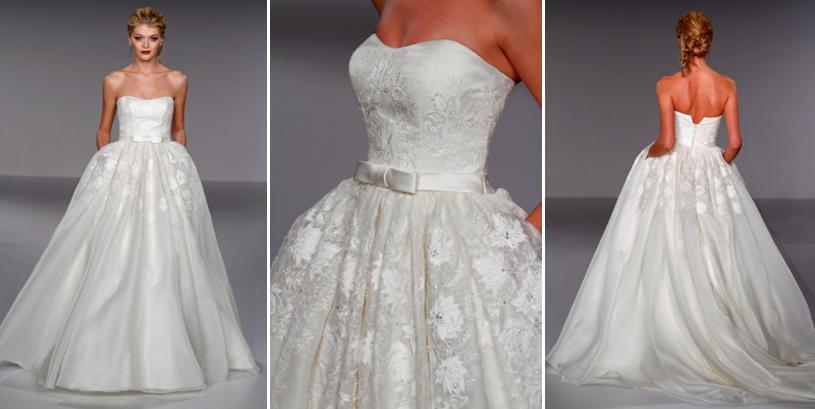 princess cut wedding dress with floral applique, pockets, and ...
