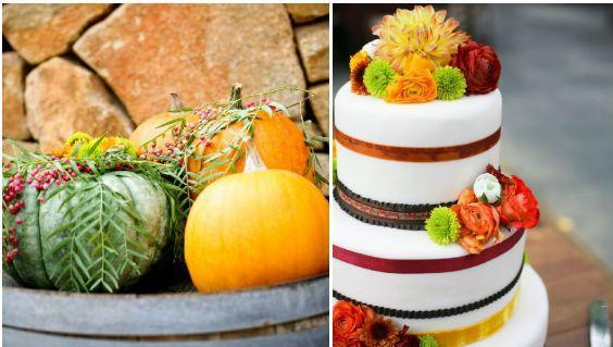 Autumn wedding inspiration- gorgeous white round tiered wedding cake with red ribbons and orange, ye