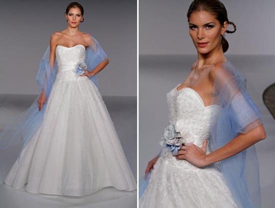 Strapless wedding dress with full tulle ball gown skirt, floral embroidery and light blue and grey f