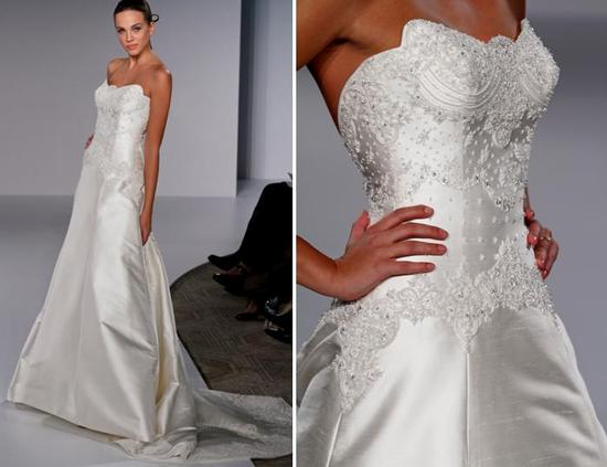 White strapless a-line wedding dress with beautiful beaded bodice